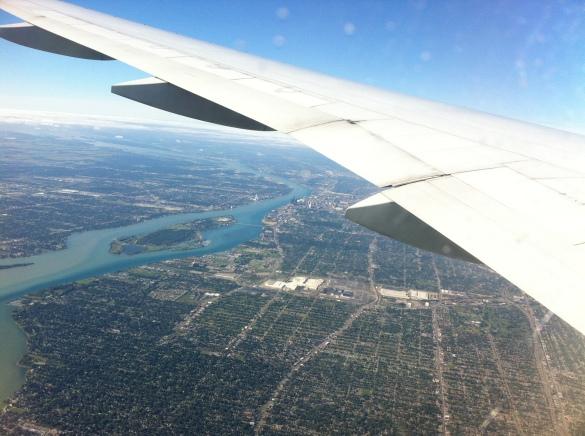 cidade de Detroit visto de cima com areas abandonados onde havia moradias antes