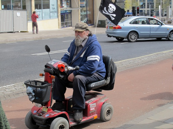 modern pirate in the streets of Bristol