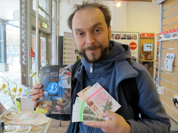 Happy Axel with Bristol Pounds - when you buy them you get also a catalogue with the places you can spend them.