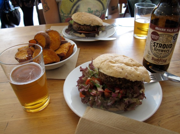 Vegan Burger Menu at Cafe Kino. Dont miss the Organic Ale, its marvellous!