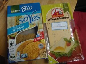 schnitzel e queijo de soja